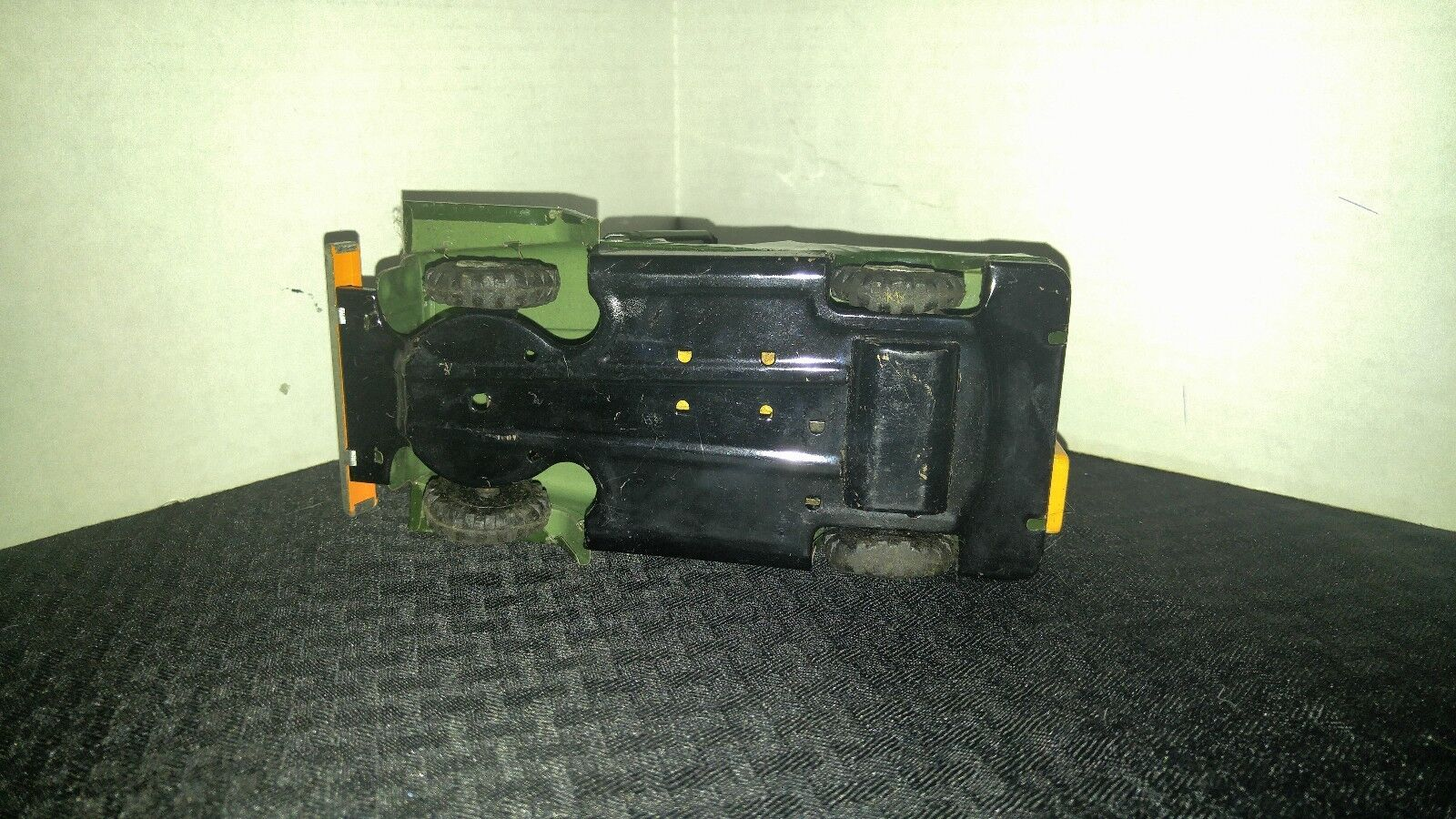 1950s Vintage Tin Litho Friction 7  ARMY ARMY ARMY JEEP w  Driver & Dual Turret FN 6.0 ad99cf