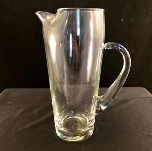 Mid-Century-Crystal-Glass-9-Inch-Martini-Pitcher-Vintage