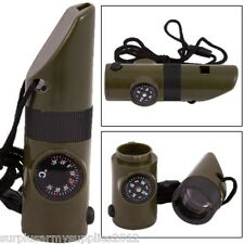 7 IN 1 SURVIVAL TOOL WHISTLE LED LIGHT COMPASS MIRROR THERMOMETER ARMY CADET