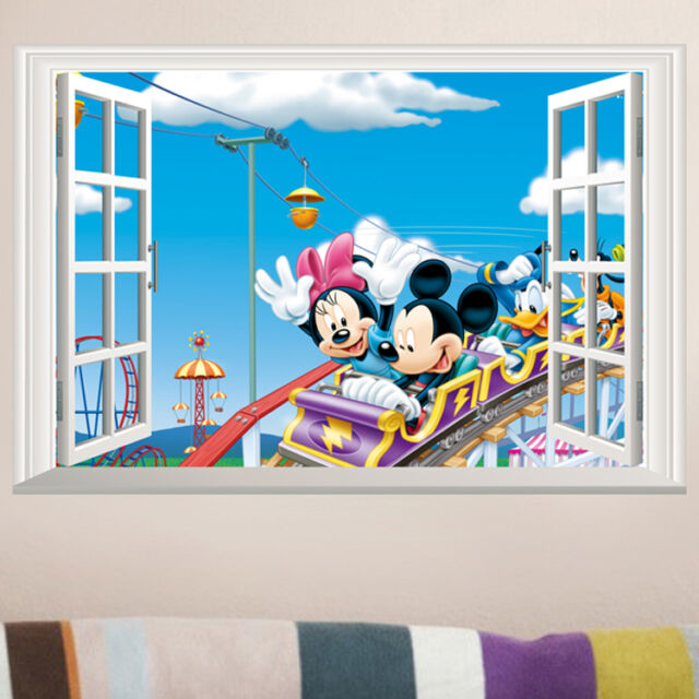 3D Mickey Minnie Mouse Wall Sticker Vinyl Decal Mural Kids Nursery Room Decor