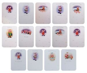 THE CLANGERS Range White Multi  Birthday Cards Coloured Envelopes 17 cm x 12 cm
