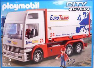 Playmobil 9370 Euro Trans Camion Container Amovible Figure Extincteur Ahk Neuf
