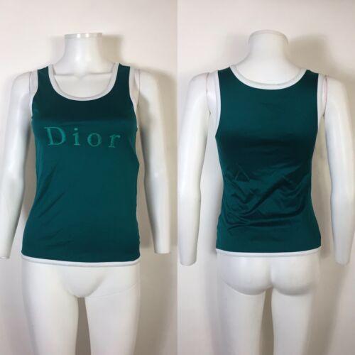 Rare Vtg Christian Dior Sports Teal Green Logo Tan