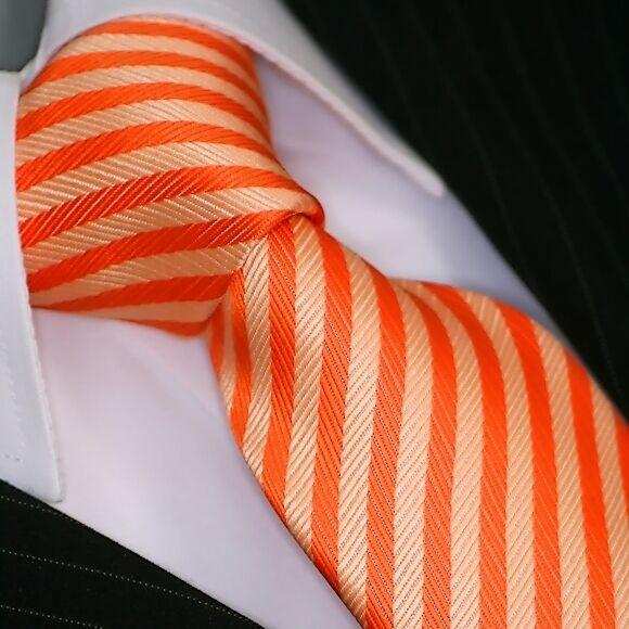 Tie Tie Tie Binder De Luxe Tie Cravate 229 Orange Striped