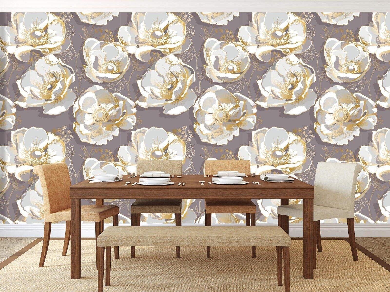 3D golden Floral 918 Wall Paper Murals Wall Print Wall Wallpaper Mural AU Sidney
