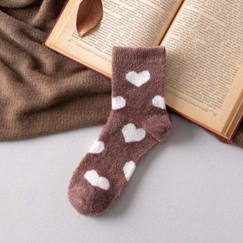 Love Heart Warm Coral Velvet Floor Socks Towel Home Sleep Socks Christmas gift b