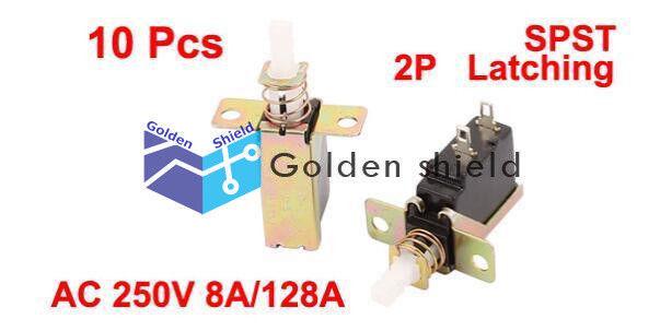 5pcs 2Pin SPST ON-OFF Self locking Latching Switch Push Button 3A 250V AC s543