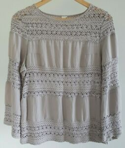 JV-Womens-Size-10-Casual-Grey-Boho-Embroidered-Lace-Linen-Blend-Long-Sleeve-Top
