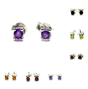 Stunning-Gemstone-Stud-925-Sterling-Silver-Earrings-Jewelry-AAAST01