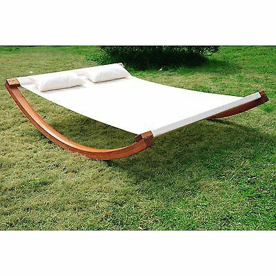 """78.74"""" Rocking Double Sun Lounger W/Curved Wooden Stand"""