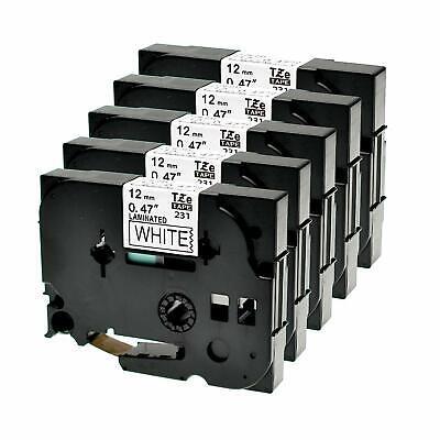 5 Schriftbänder kompatibel für Brother TZE-231 TZ231 P-Touch 1000 1005 1010 12mm
