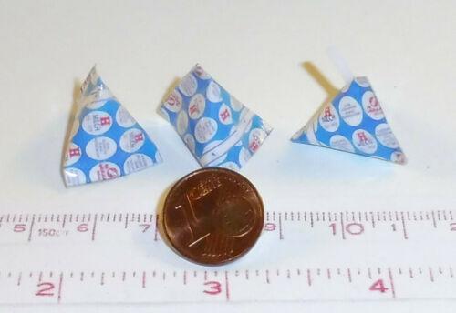 6022# 3 Miniatur Milch-Packungen- Nostalgie Puppenhaus Puppenstube M1zu12