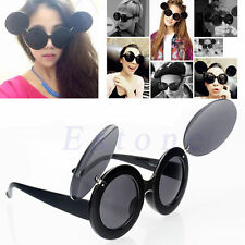 Retro Fashion Trend Lady Style Mickey Mouse Flip Up Round Shade Sunglasses
