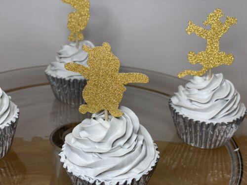 18 Cupcake Topper Winnie The Pooh Party Glitter Birthday Pooh Bear Eeyore Piglet