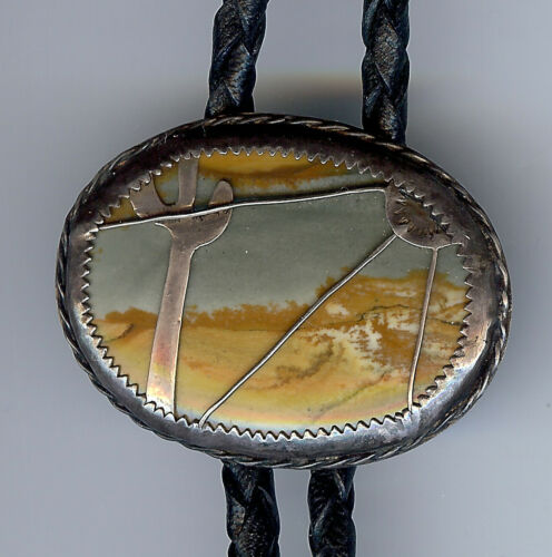 VINTAGE PICTURE AGATE CACTUS DESERT SCENE STERLING SILVER OVERLAY BOLO TIE