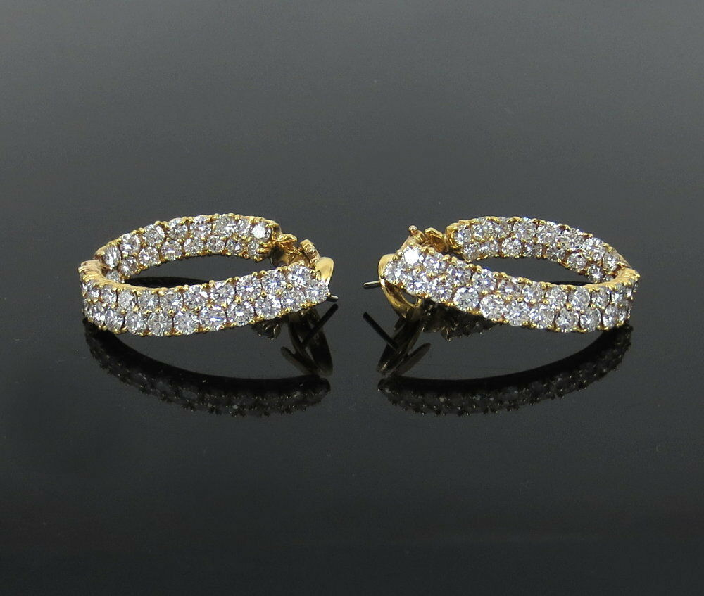 Estate 13.0ct Diamond & 18K Yellow gold Double Row Curved Hoop Earrings