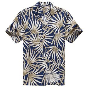 Made in Hawaii Men Aloha Shirt Luau Cruise Party Classic Navy Palm Leaves