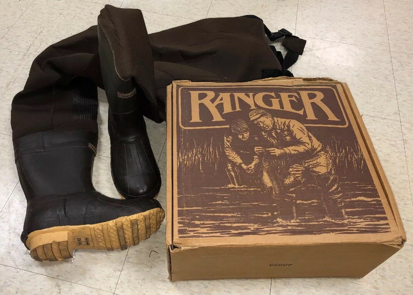 Ranger A2600 Neoprene Insulated Boot Foot Cleat Outsole Waders sz 7 GREAT SHAPE