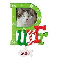 Purr 2016 Hallmark Ornament Cat Kitten Photo Holder Fish Snowflakes Love