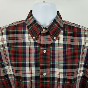 Ralph-Lauren-Blaire-Mens-Red-Blue-Plaid-Check-L-S-Dress-Button-Shirt-Sz-Large-L
