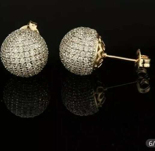 Micro pave White cz earrings Round Amazing Quality Large Ball Studs