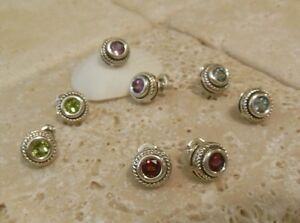 Sterling-Silver-925-GEMSTONE-Cable-Stud-Earrings-A-Great-Gift-Idea