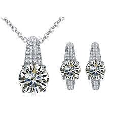 Vintage Luxury Teardrop Jewellery Set White Zircon Bridal Earrings Necklace S761