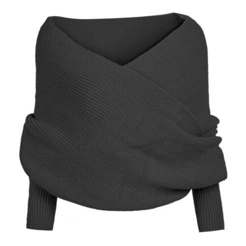 Damen Schulterfreier Crop Knit Sweater Ärmel Wickel Winter Warme Schal Schal