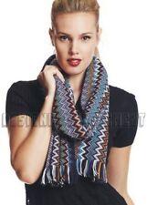 MISSONI black border colorful ZIGZAG 100% wool UNISEX scarf NIB Authentic!