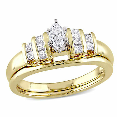 Amour 1/2 CT TW Marquise and  Diamond Bridal Set in 14k Yellow Gold