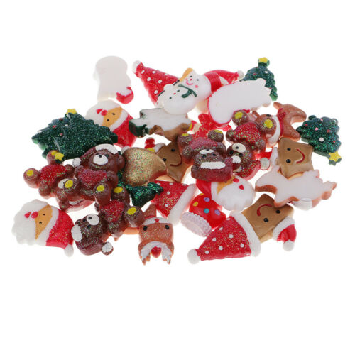 10//30pcs Resin Christmas Flatback Cabochons Hair Bow DIY Scrapbooking Crafts