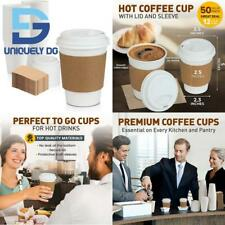 New Listing50 Pack White Coffee Cups With White Dome Lids And Brown Sleeves 12oz Dispos