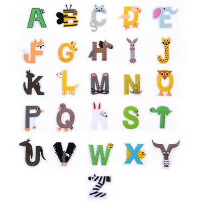 Cartoon Animal Alphabet Letter Embroidery Patches Fabric Iron On Patch Children