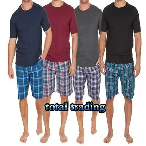 Mens-Pyjamas-Cotton-T-Shirts-with-Woven-lounge-Shorts-Set-with-pockets