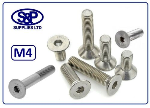M4 M4 STAINLESS SOCKET COUNTERSUNK SCREW ALLEN SCREW FROM 6MM TO 40MM LONG 4mm