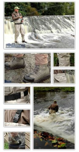 BISON BREATHABLE CHEST WADERS COMPLETE WITH FELT OR RUBBER SOLE WADING BOOTS