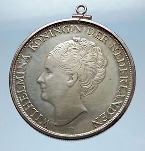 1944-CURACAO-Netherlands-Kingdom-Queen-WILHELMINA-Silver-Coin-PENDANT-i65581