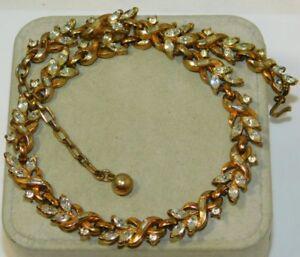 Vintage-Shiny-White-Baguette-AB-Rhinestone-Gold-Tone-19-034-Necklace-11L-24