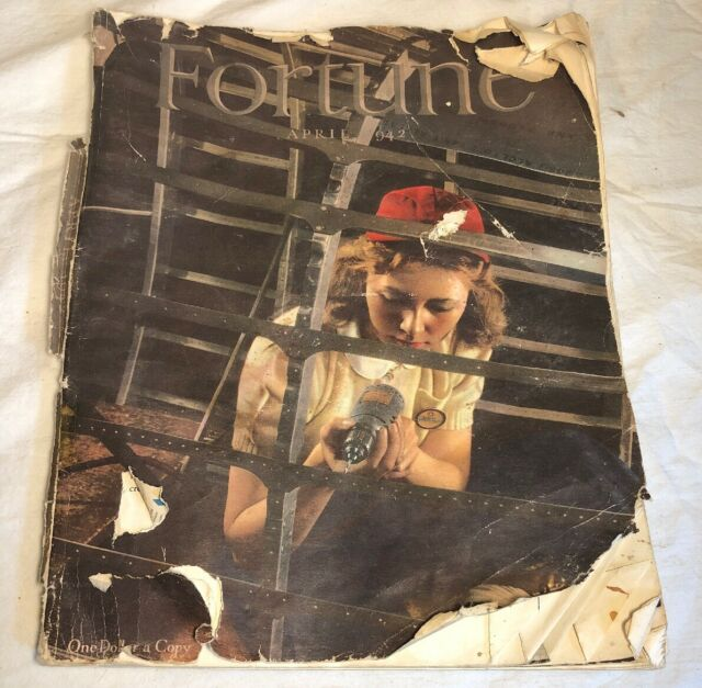 April 1942 FORTUNE Magazine World War II Era Rosie the Riveter Style Cover
