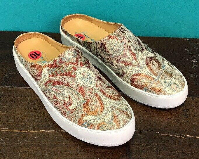 NEW Free People shoes 10 Wynwood Slide Sneakers orange Combo Paisley 41