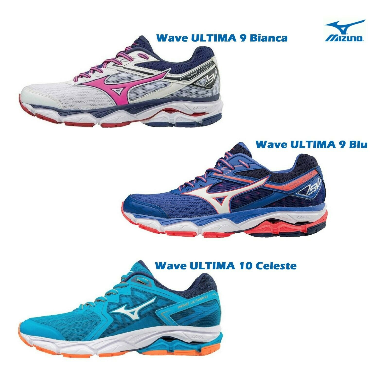 Mizuno Wave Ultima 9 and 10 femmes Trail FonctionneHommest chaussures Triathlon bleu blanc j1gd18