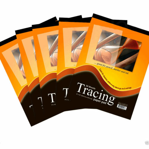 5 Pcs Tracing Paper Pads 9 x 12 Inch Premium Quality 30 Sheets Sketch Draw Art