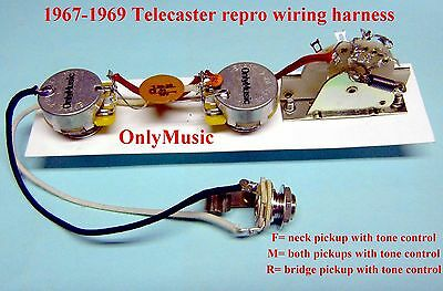 COMPATIBLE TO FENDER TELECASTER 1967 1969 REPRODUCTION VINTAGE WIRING  HARNESS | eBayeBay