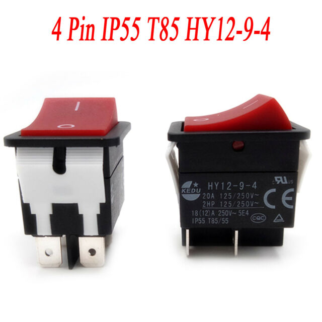 1PC KEDU Power On Off Rocker Switch Push Button 4 Pin IP55 T85 HY12-9-4 Repair