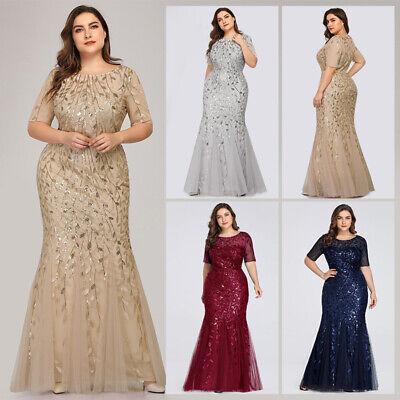 US Ever-Pretty Plus Size Mesh Sleeve Long Evening Gowns Bridesmaid Party  Dresses | eBay