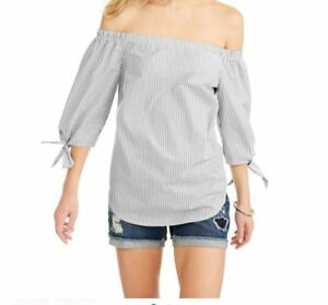 fbb1f828e4053 New Women s Faded Glory Off the Shoulder Top Gray Striped Blouse Sz ...