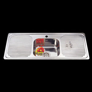Drop In Stainless Steel Kitchen Sink Single Bowl Double Drainer ...