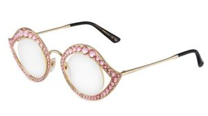 1f5c7a5b344 New GUCCI CRYSTAL LIPS Cat Eye Round Gold Pink Metal Glasses ...