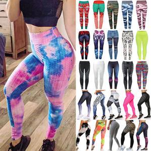 Ladies Sweatpants Yoga Pants Women High Waist Bubble Hip Lifting Fitness Sports Running Leggings Tie Dye Fitness Tights