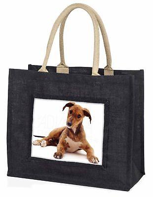 Lurcher Hund große schwarze Einkaufstasche Weihnachten Geschenkidee, ad-lu2blb